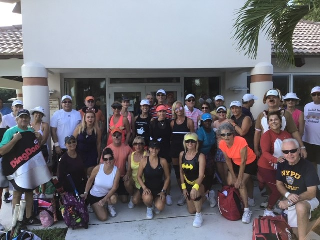 Round Robins Players in front of tennis Pro Shop